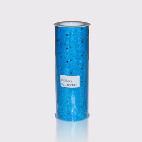 Blue Aqua Sequin Tulle  10 Y